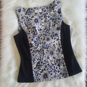 Laundry black and floral sleeveless business tank
